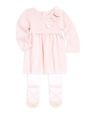 01af9eb9f Miniclasix - Baby Girl s Two-Piece Sweater Dress   Footed Tights Set ...