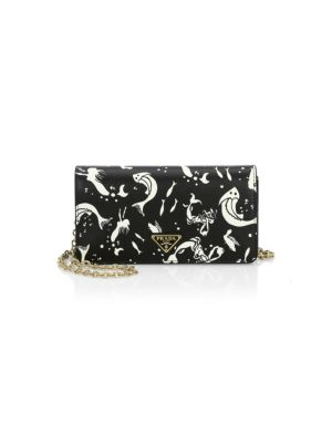 Mini Borse Saffiano Print Crossbody Bag, Black Multi