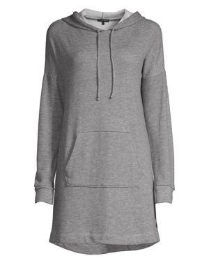 Hood Times Mini-Length Sweatshirt Dress, Heather Grey