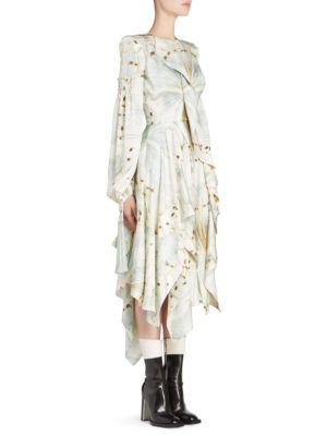 Jewel-Neck Scarf Long-Sleeve Glass-Wing Print Silk Dress in V626