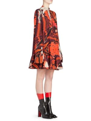 Mandarin-Collar Long-Sleeve Tiger Butterfly-Print Silk Mini Dress, Red Ivory Black