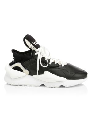 Kaiwa Black And White Leather And Neoprene Sneaker, Black White