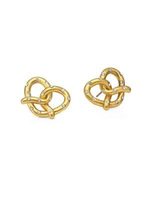Kate Spade Pretzel Crystal Goldplated Mini Stud Earrings