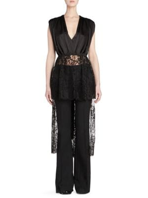 Asymmetric Cotton-Blend Lace And Silk-Satin Top in Black