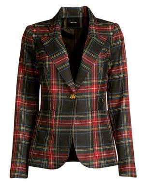 SMYTHE Patch Pocket Duchess Blazer in Black Tartan