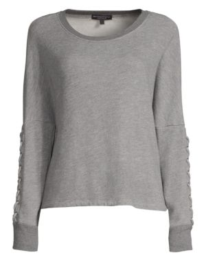 BEYOND YOGA Lasso Lace-Up Draped Pullover Sweatshirt in Heather Grey
