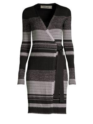 Long-Sleeve Metallic Striped Wrap Dress in Black