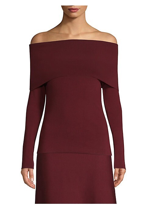Image of A foldover collar gives this shoulder-baring sweater a dramatic silhouette. The piece is crafted in Italy from a luxurious stretch wool blend. Off-the-shoulder. Long sleeves. Pullover style. Wool/polyamide/elastane. Dry clean. Made in Italy. SIZE & FIT. A