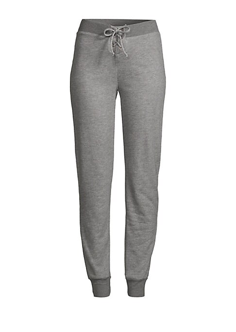 """Image of Cozy marled sweatpants with a tapered fit. Elasticized waist. Banded ankle. Inseam about 29.75"""".Polyester/cotton/rayon. Machine wash. Made in USA."""