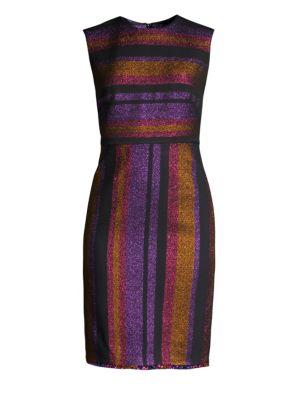 Metallic-Stripe Sleeveless Sheath Dress in Pink