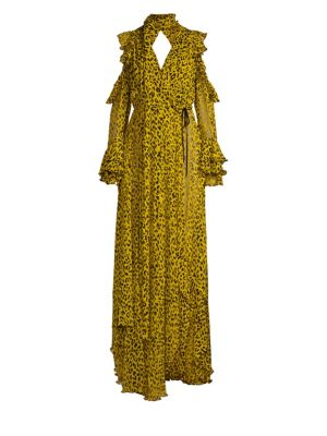 Ruffled Leopard-Print Silk-Georgette Wrap Maxi Dress, Heyford Goldenrod