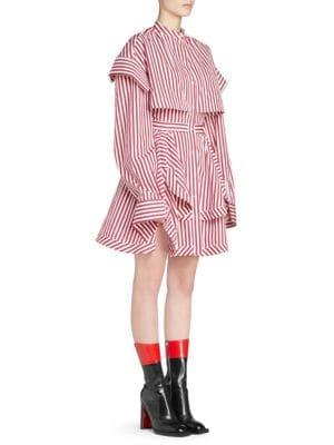 Asymmetric Layered Striped Cotton-Poplin Mini Dress in Red