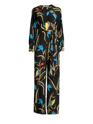 Long-Sleeve Floral Silk Tie-Waist Jumpsuit in Oswald Black