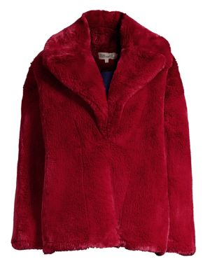 Collared Faux-Fur Teddy Coat in Red