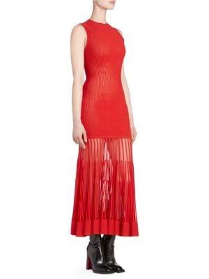 Sleeveless Crewneck Ottoman-Knit Sheer Bottom Long Dress in Red