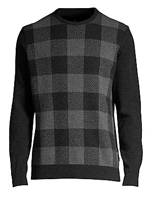 "Image of A buffalo check in a muted color palette enhances this cozy lambswool sweater. Crewneck Long sleeves Ribbed cuffs and hems Pullover style Lambswool Hand wash Made in Italy SIZE & FIT About 28"" from shoulder to hem. Men Luxury Coll - Seasonal Classificatio"