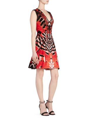 Deep-V Sleeveless Butterfly Jacquard Knit Dress in Multicolour