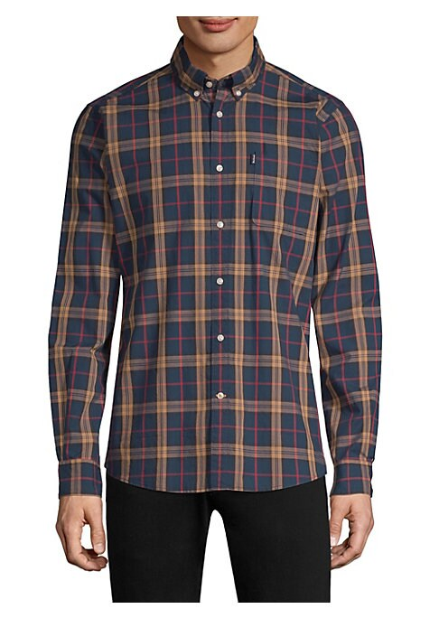"Image of Checked cotton shirt in button-front style. Fold-over collar. Long sleeves. Front patch pocket. Button-front. About 30"" from shoulder to hem. Cotton. Machine wash. Imported. ."