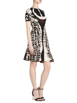 Crewneck Short-Sleeve Abstract Bug-Jacquard Flared Knit Dress in Black