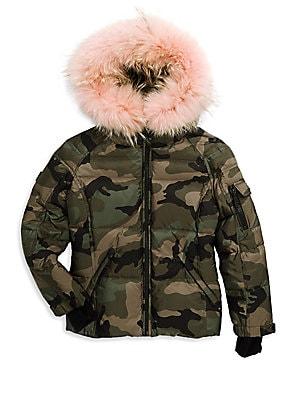 0289fddc89e Sam. - Boy s Blake Camouflage Coyote Fur-Trim Down Puffer Jacket ...