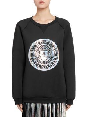 Hologram Coin Logo Neoprene Sweatshirt, Black-Silver