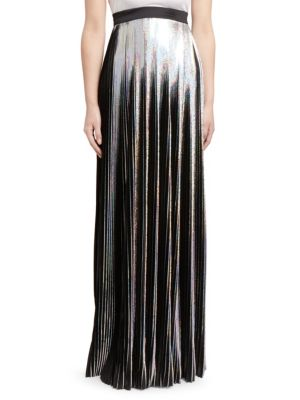 Hologram Plisse Floor-Length Evening Skirt in Metallic