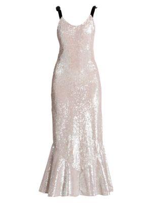 Attico Sequin Flutter Maxi Slip Dress