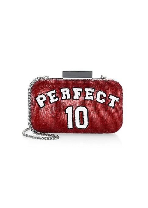 "Image of Adorable clutch bag beautifully embellished with a glass bead design and chain shoulder strap. Removable chain shoulder strap. Resin knob lock closure. Interior slide pockets. Silvertone hardware. Polyester/glass beads/plastic. Lined. Imported. SIZE.8""W x"