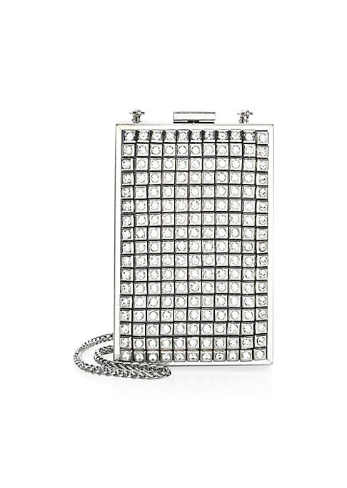 "Image of Adorable tall clutch bag beautifully embellished with crystal studs and a chain shoulder strap. Removable chain shoulder strap. Metal clasp lock closure. Interior slide pockets. Polyester. Silvertone hardware. Lined. Imported. SIZE.4.5""W x 7""H x 1.5""D."