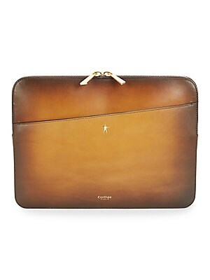 Image of ONLY AT SAKS. Briefcase with Corthay C Logo Handles, Corthay star logo double ziper entry, two exterior side pockets, interior zipper pocket, Additional interior pockets for smartphone, business cards and pen slots Double handles formed in the Corthay C l