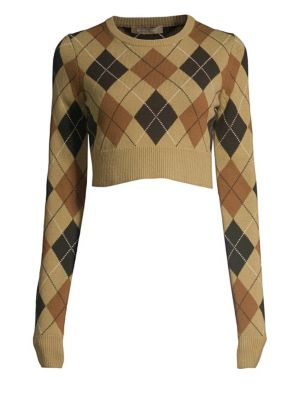 Cropped Cashmere Argyle Pullover Sweater, Chino Multi