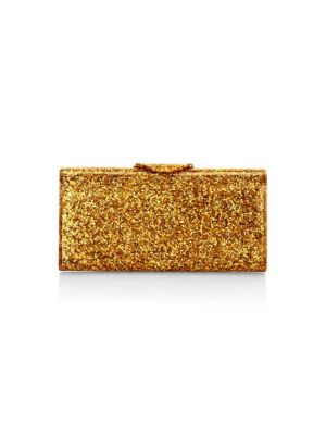 EDIE PARKER Large Lara Glitter Iceless Clutch Bag in Gold