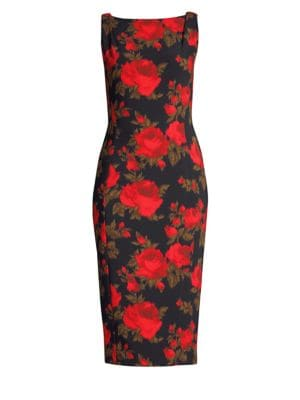 Sleeveless Floral-Print Midi Sheath Dress, Crimson Multi