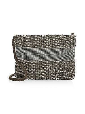 "Image of Bohemian weave lends artisanal elements to this textile crossbody bag. Attached braided crossbody strap Top snap-button closure One interior slip pocket Cotton Made in Italy SIZE 6""W x 5.5""H x 2""D. Handbags - Contemporary Handbags. Antonello Tedde. Color:"
