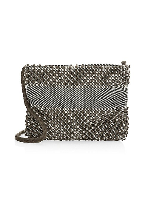 "Image of Bohemian weave lends artisanal elements to this textile crossbody bag. Attached braided crossbody strap. Top snap-button closure. One interior slip pocket. Cotton. Made in Italy. SIZE.6""W x 5.5""H x 2""D."