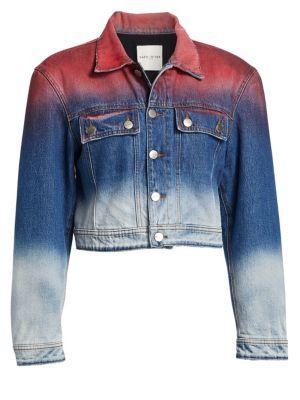 Dip Dyed Cropped Denim Jacket, Red Blue Sky