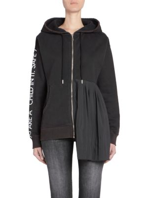 EACH X OTHER Pleated Zip-Front Hoodie in Black