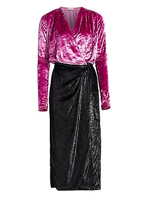 4cea2e1c Attico - Velvet & Satin Midi Robe Dress - saks.com