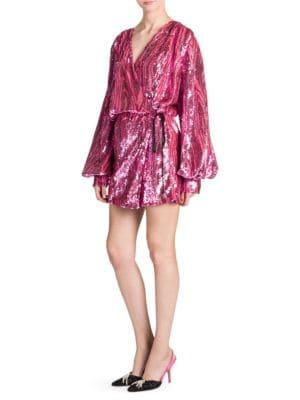Attico Long-Sleeve Wrap Allover Sequin Mini Dress In 089 Pink
