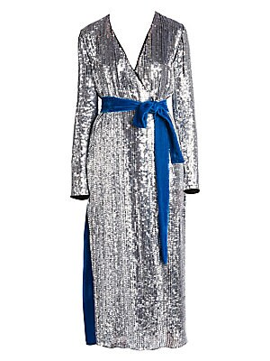 818b9768 Attico - Sequin & Velvet Midi Robe Dress - saks.com