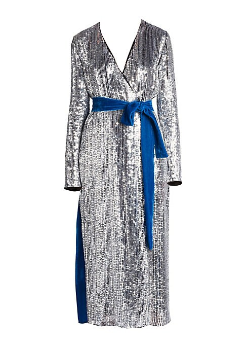 Image of From the Saks IT LIST. SILVER. Shine bright in the season's new neutral. Dazzlingly decadent, this tie-waist robe dress is adorned with metallic sequins for an opulent look. It turns to flaunt a velvet back finished in regal teal for a midi that stuns fro