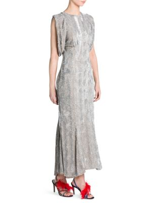 Sequin Gathered-Sleeve Gown, Silver