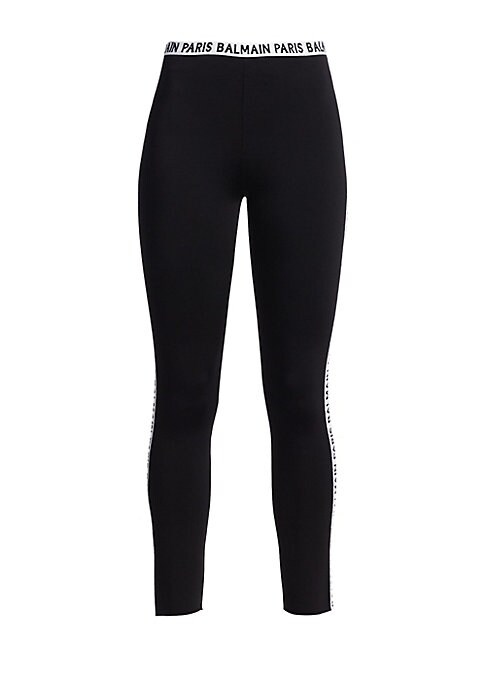 Image of Athleisure is here to stay and these racing stripe logo leggings are an embodiment of this everlasting trend. Cropped in silhouette with bold logos at the side, this is an essential statement piece. Elasticized logo waist. Quarter back zip closure. Side l