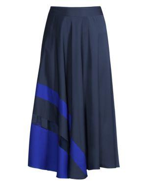 Asymmetric Stripe A-Line Midi Skirt, Navy Cobalt