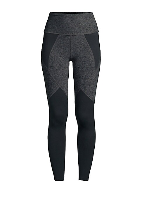 """Image of Colorblock active compression leggings with a soft space-dye print made of stretch nylon. Banded waist. Seamed detail. Back logo graphic. Nylon/spandex. Machine wash. Imported. Made in USA. SIZE & FIT. Rise, about 10"""".Inseam, about 27"""".Leg opening, about"""