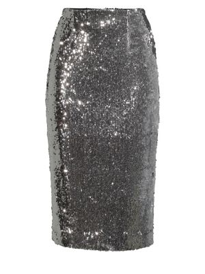 Jami Sequined Pencil Skirt in Silver