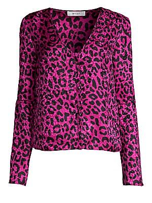 a6396133b4d8 Milly - Leopard Print Silk Jacquard Blouse - saks.com