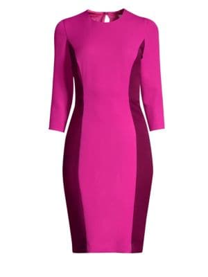 MILLY Jewel-Neck 3/4-Sleeve Colorblock Scuba Dress in Pink