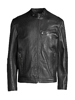 Image of Sleek leather moto jacket finished with reinforced seaming. Buttoned racer collar Long sleeves Front zip close Asymmetric chest zip pocket Side zip pockets Reinforced elbow seaming Lined Leather Professional leather clean Imported SIZE & FIT Regular fit A