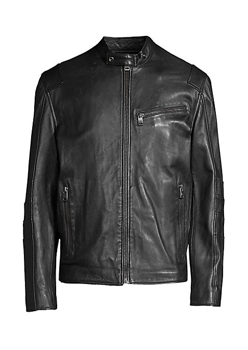 Image of Sleek leather moto jacket finished with reinforced seaming. Buttoned racer collar. Long sleeves. Front zip close. Asymmetric chest zip pocket. Side zip pockets. Reinforced elbow seaming. Lined. Leather. Professional leather clean. Imported. SIZE & FIT. Re